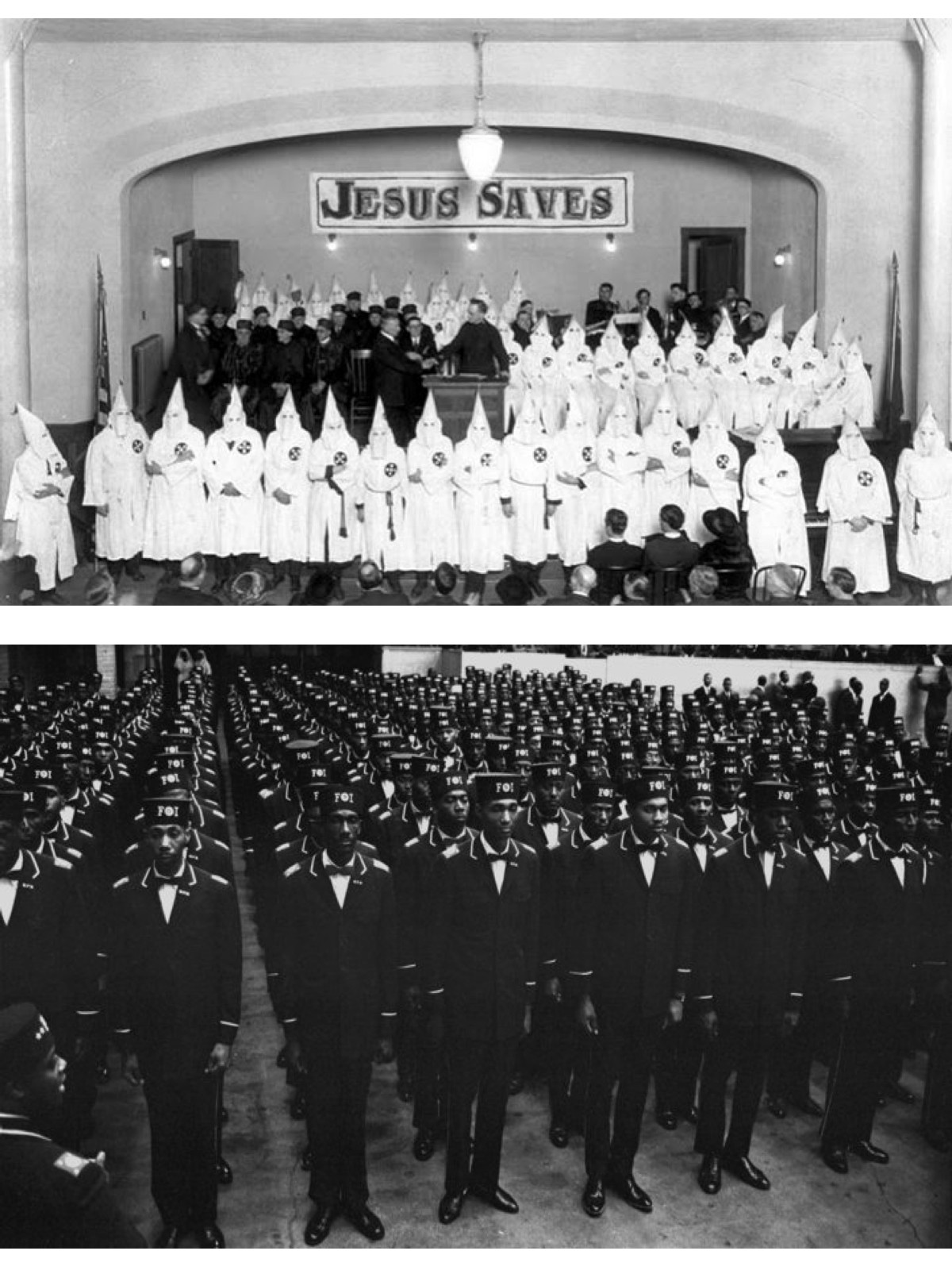 Top Image: Robed and hooded Ku Klux Klan members share a stage with members of the Royal Riders of the Red Robe, a Klan auxiliary for foreign-born white Protestants. Date: c. 1922; Photography Credit Unknown, image belonging to Oregon Historical Society | Bottom Image: Uniformed men in the uniform of the Fruit of Islam, a subset of the Nation of Islam, stand at attention during the Savior's Day celebrations at General Richard Jones Armory, Chicago, Illinois, February 26, 1967. Photography Credit: Robert Abbott Sengstacke/Getty Images
