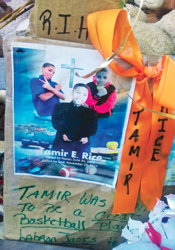 Memorial in Cleveland, Ohio honoring 12 year old Tamir Rice who was gunned down by police. Photo: Final Call
