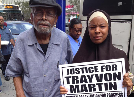 Donna Auston with Imamu Amiri Baraka at a protest in Newark, NJ right after the Zimmerman verdict during Ramadan of 2013.